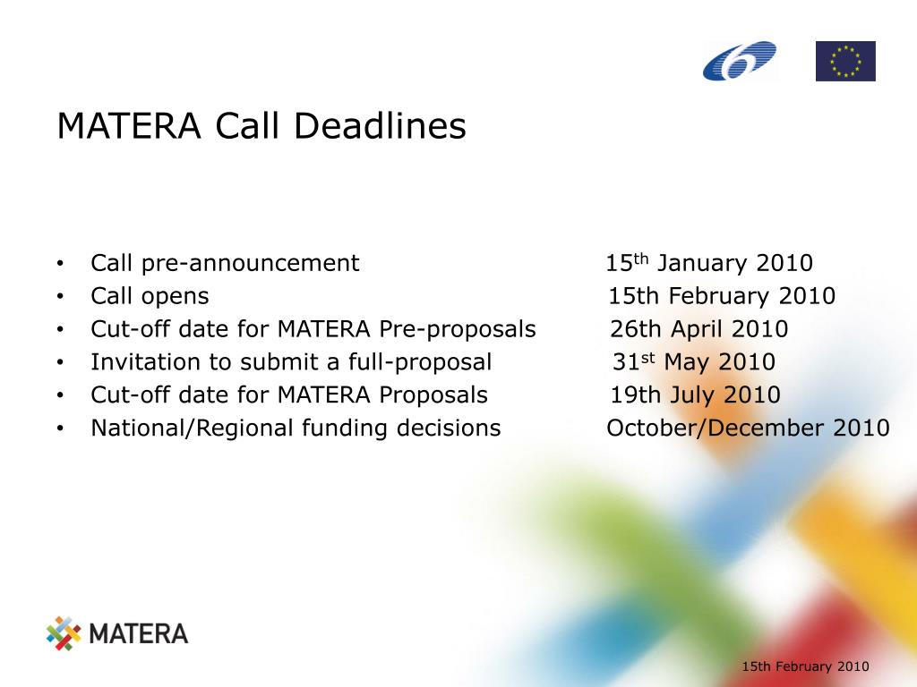 MATERA Call Deadlines
