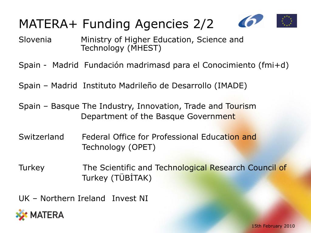 MATERA+ Funding Agencies 2/2