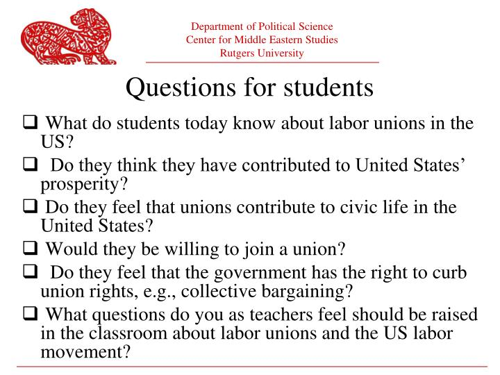 What do students today know about labor unions in the US?