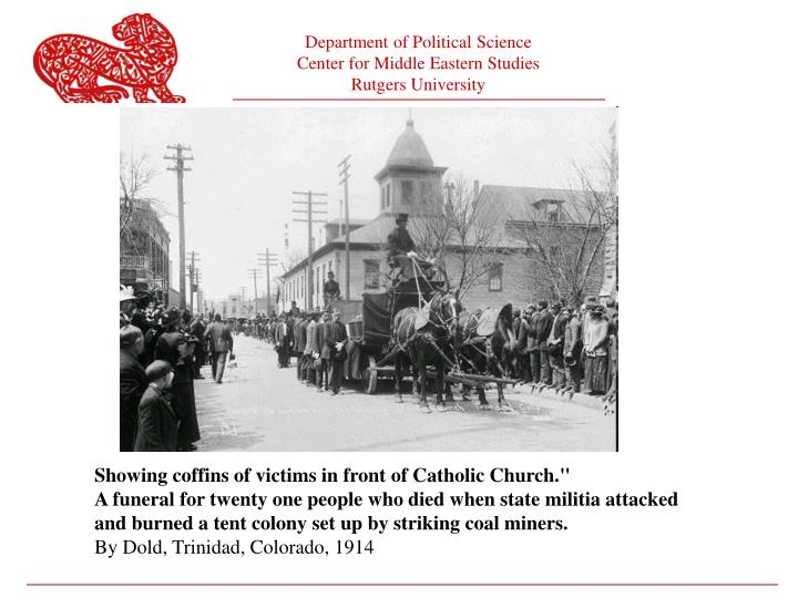 Showing coffins of victims in front of Catholic Church.""