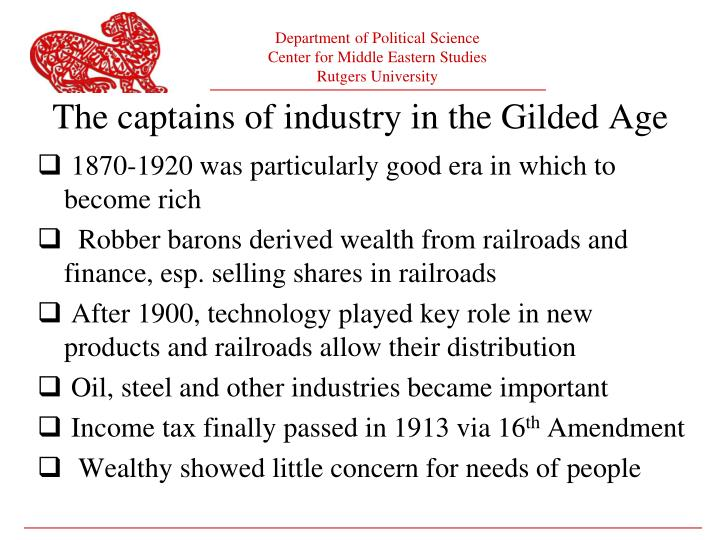 1870-1920 was particularly good era in which to become rich