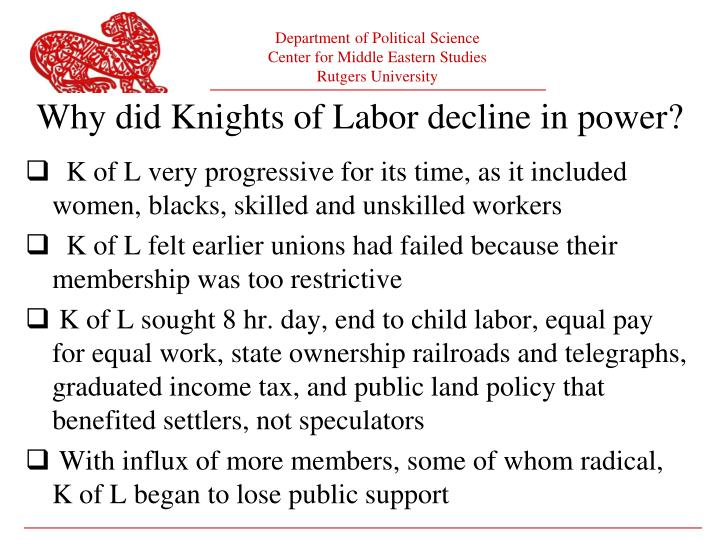 Why did Knights of Labor decline in power?