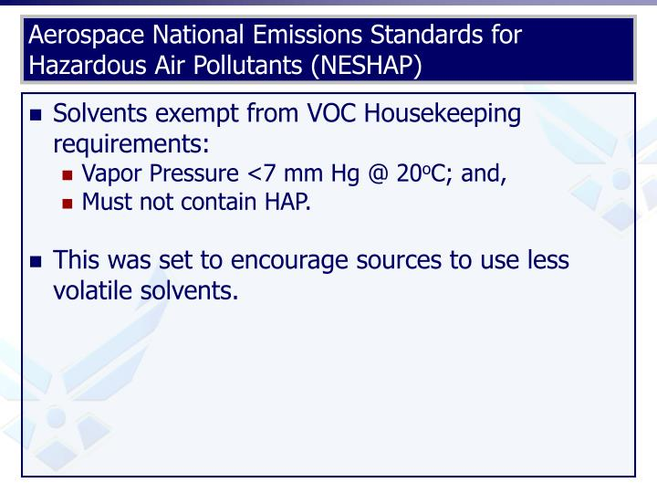 Aerospace National Emissions Standards for Hazardous Air Pollutants (NESHAP)