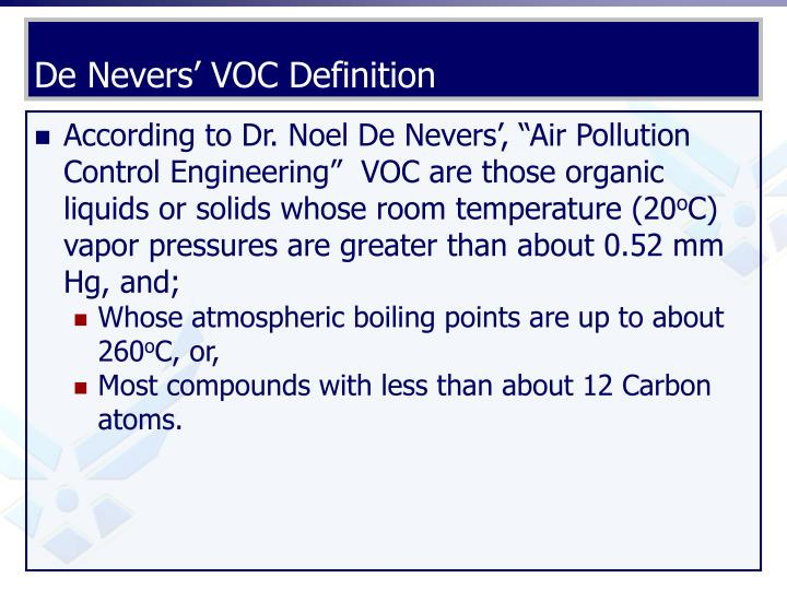 De Nevers' VOC Definition