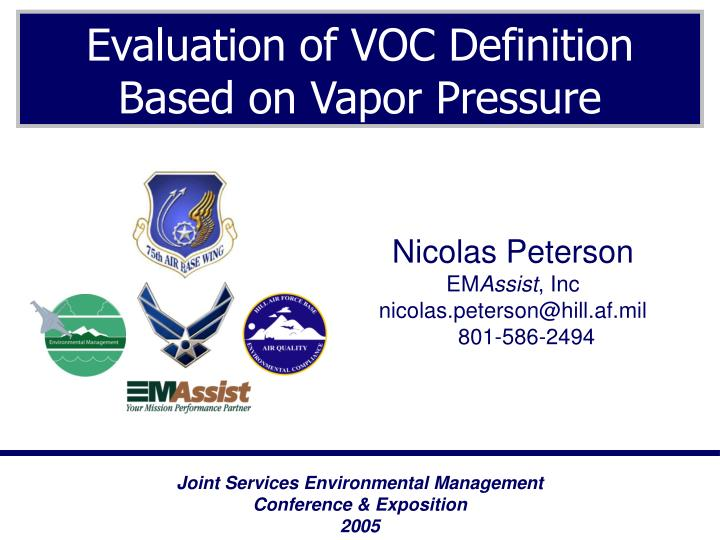 Evaluation of voc definition based on vapor pressure