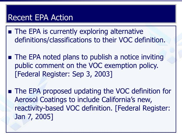 Recent EPA Action