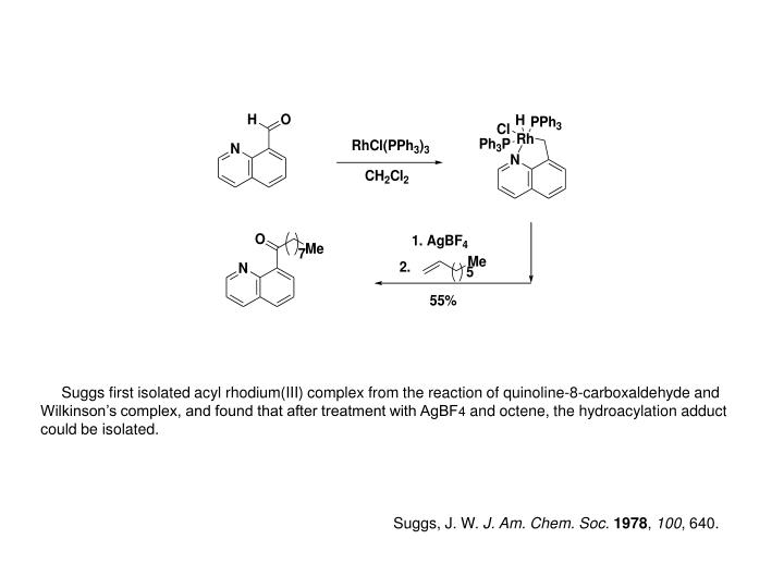 Suggs first isolated acyl rhodium(III) complex
