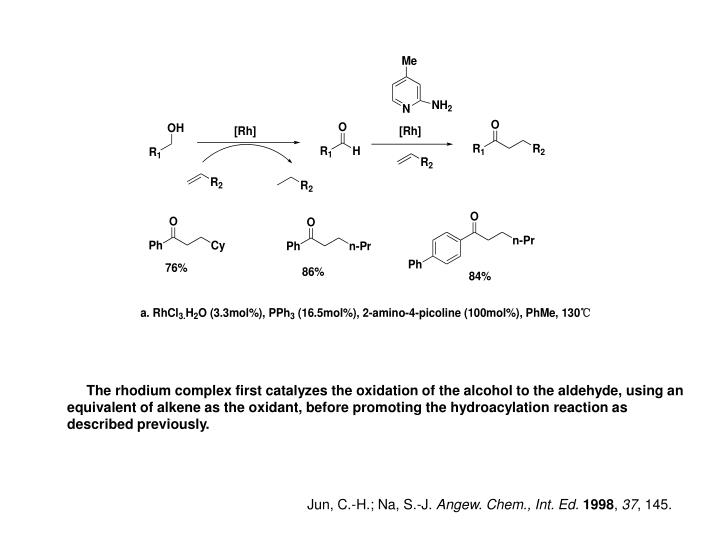The rhodium complex first catalyzes the oxidation of the alcohol to the aldehyde, using an equivalent of alkene as the oxidant, before promoting the hydroacylation reaction as described previously.