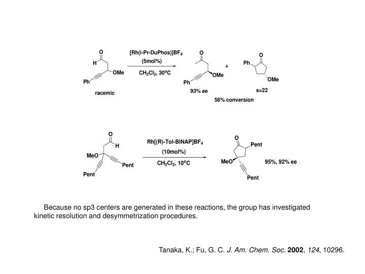 Because no sp3 centers are generated in these reactions, the group has investigated kinetic resolution and desymmetrization procedures.
