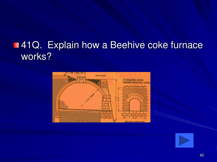 41Q.  Explain how a Beehive coke furnace works?