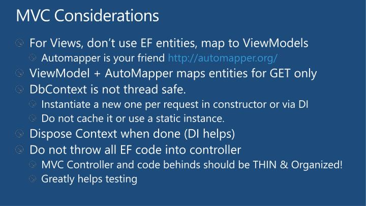 MVC Considerations
