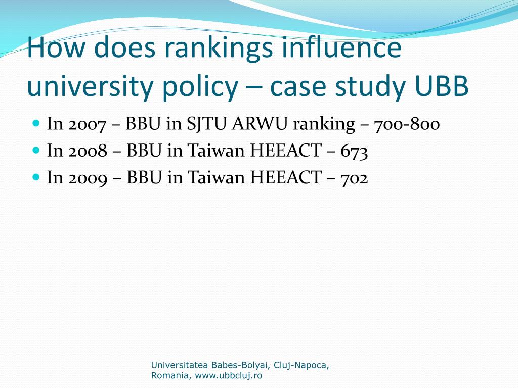 How does rankings influence university policy – case study UBB