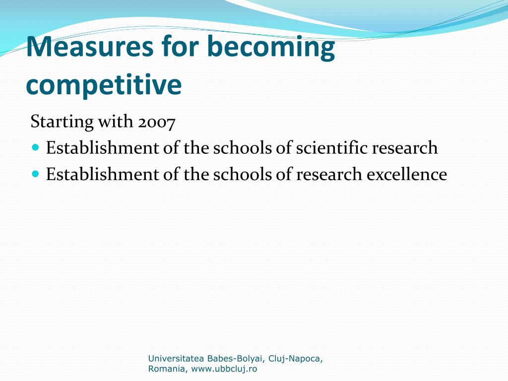 Measures for becoming competitive