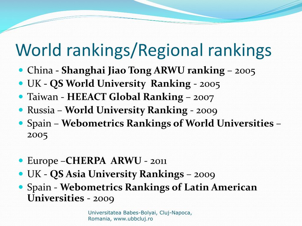 World rankings/Regional rankings