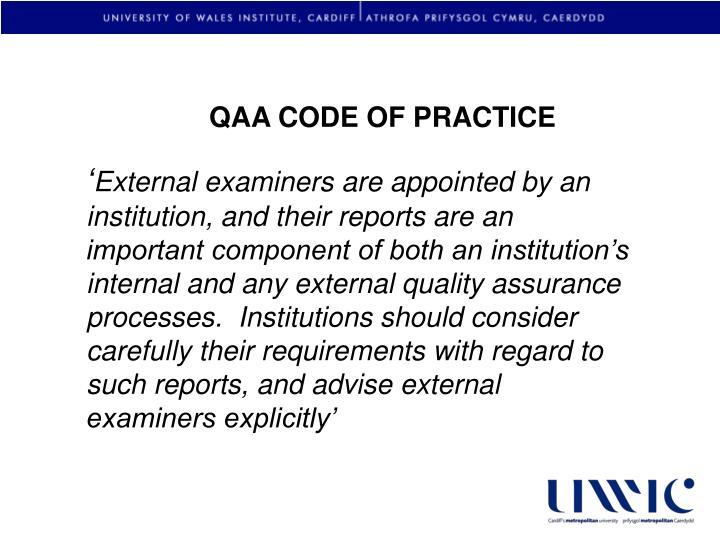 QAA CODE OF PRACTICE