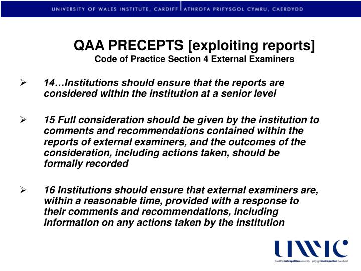 QAA PRECEPTS [exploiting reports]