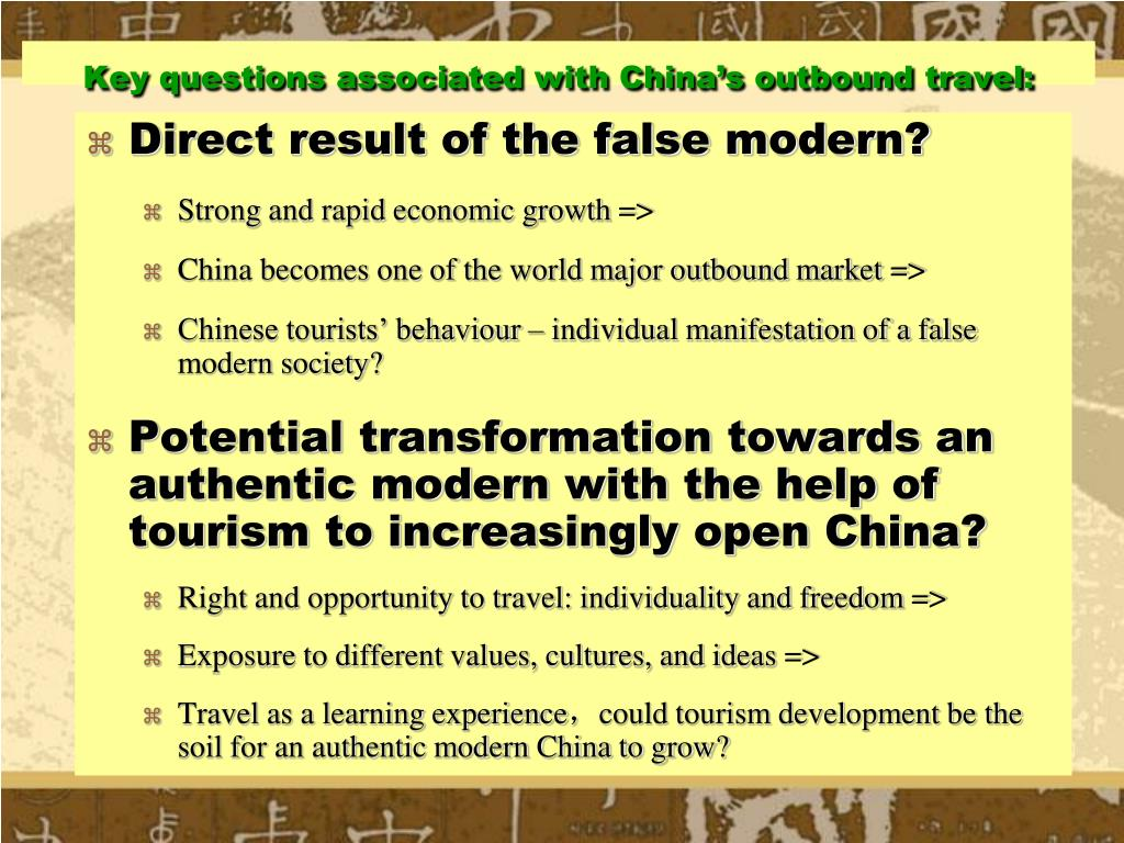 Key questions associated with China's outbound travel: