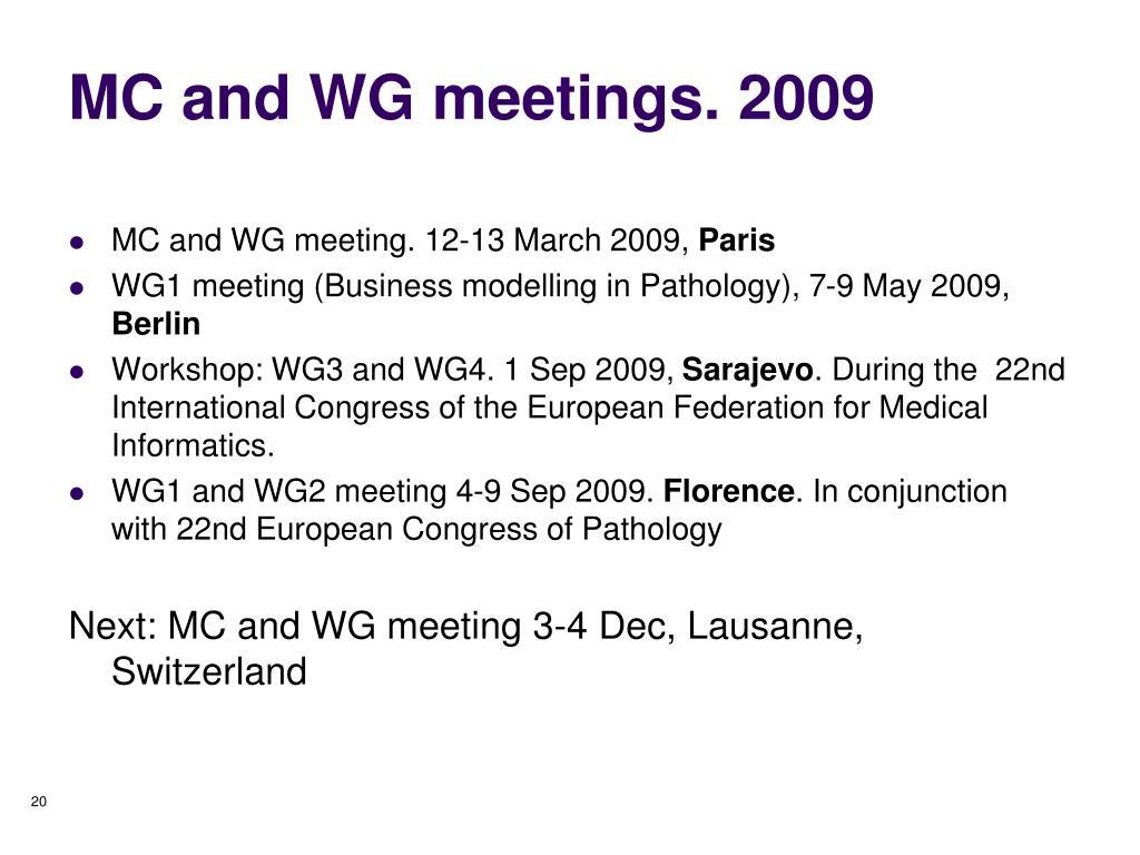 MC and WG meetings. 2009