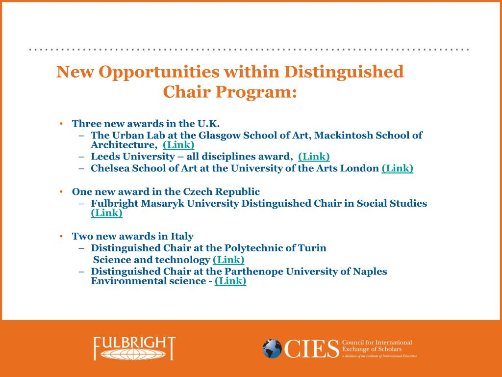 New Opportunities within Distinguished Chair Program: