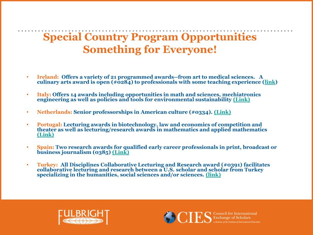 Special Country Program Opportunities