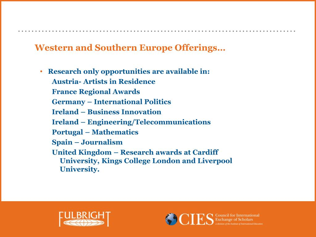 Western and Southern Europe Offerings…