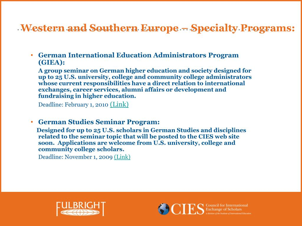 Western and Southern Europe – Specialty Programs: