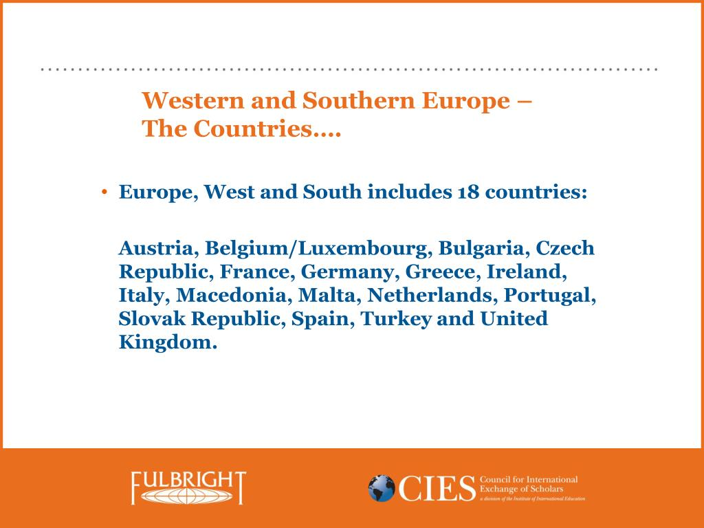 Western and Southern Europe – The Countries….