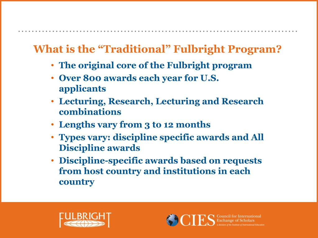 "What is the ""Traditional"" Fulbright Program?"