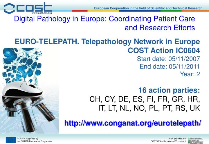 Digital Pathology in Europe: Coordinating Patient Care and Research Efforts