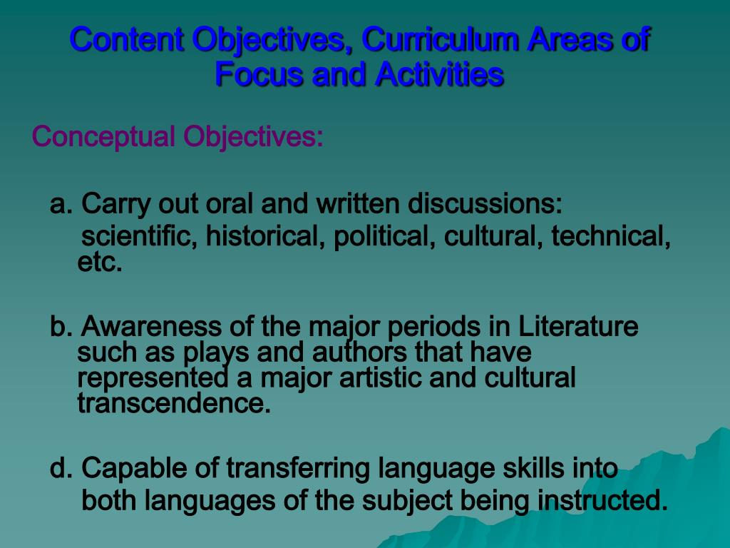 Content Objectives, Curriculum Areas of Focus and Activities