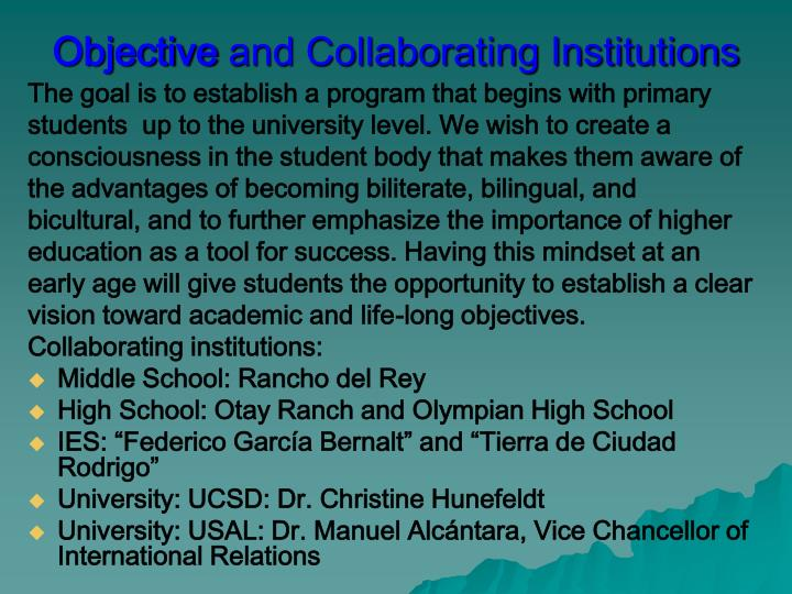 Objective and collaborating institutions