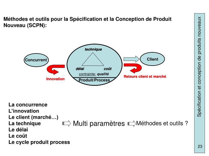 Méthodes et outils pour la Spécification et la Conception de Produit Nouveau (SCPN):