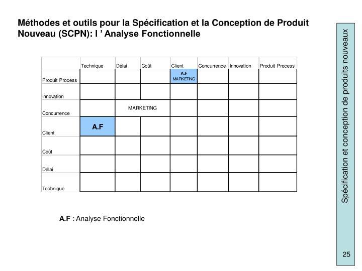 Méthodes et outils pour la Spécification et la Conception de Produit Nouveau (SCPN): l' Analyse Fonctionnelle