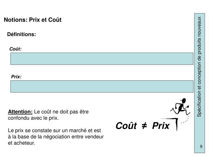 Notions: Prix et Coût