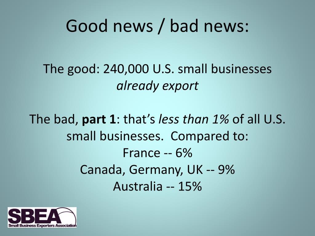 Good news / bad news: