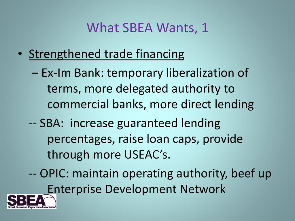 What SBEA Wants, 1