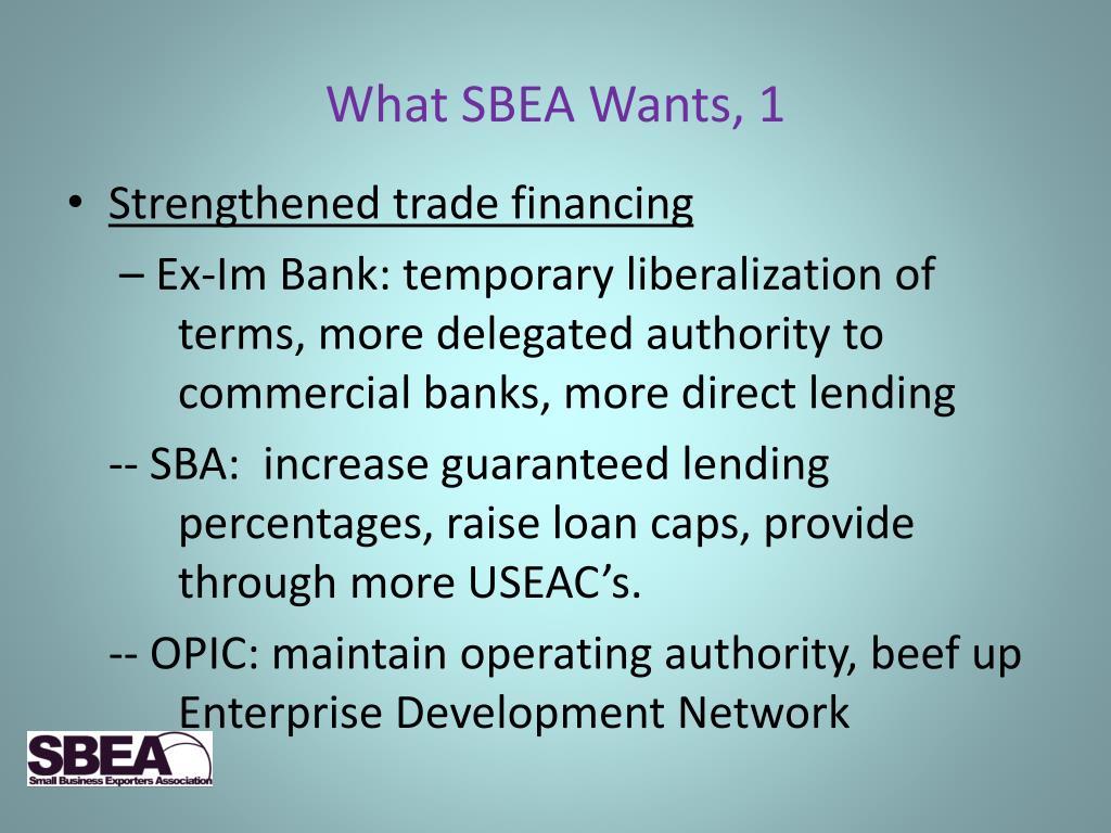What SBEA Wants, 1