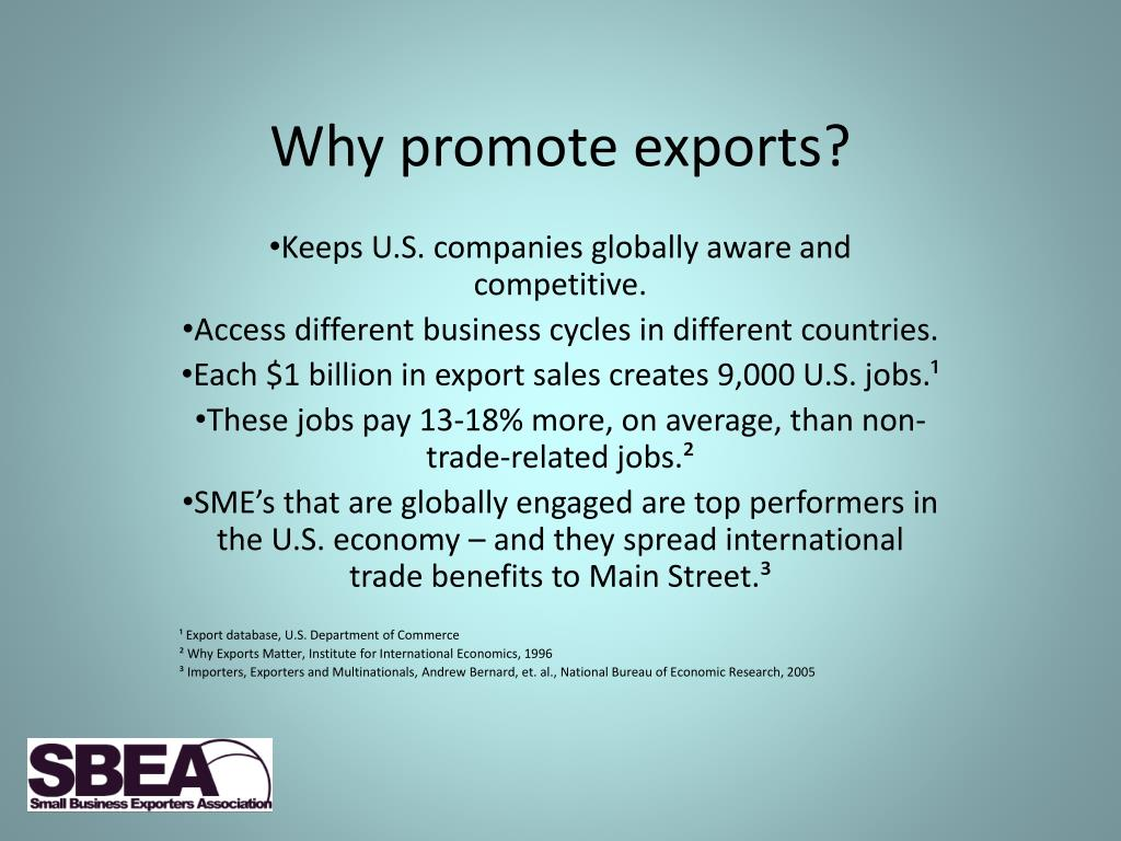 Why promote exports?
