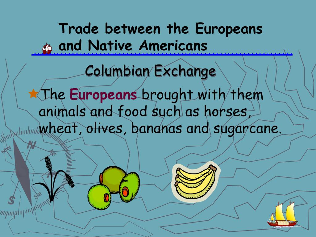 Trade between the Europeans and Native Americans