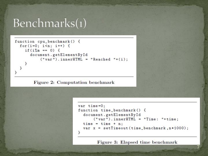 Benchmarks(1)