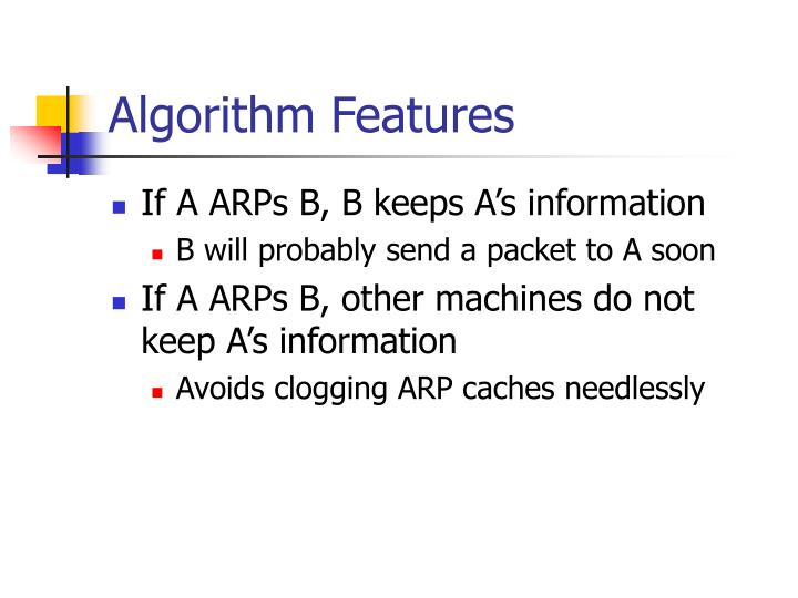 Algorithm Features