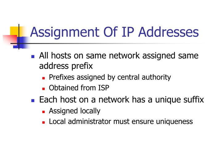 Assignment Of IP Addresses