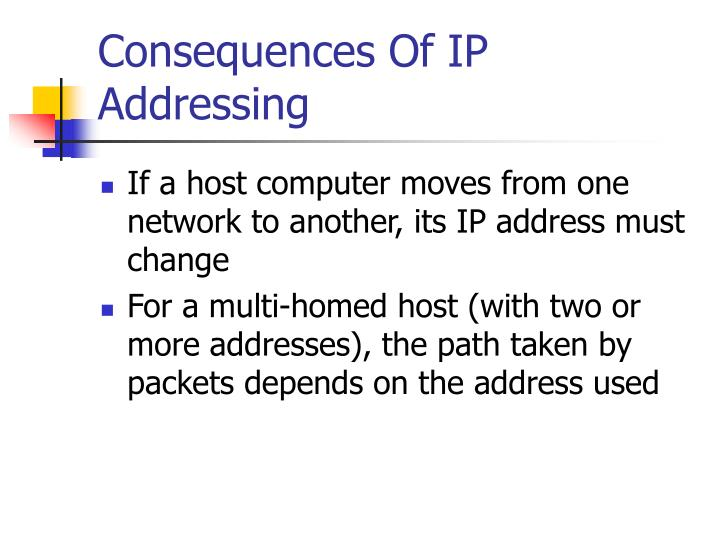 Consequences Of IP Addressing