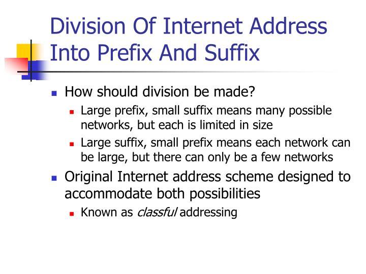Division Of Internet Address