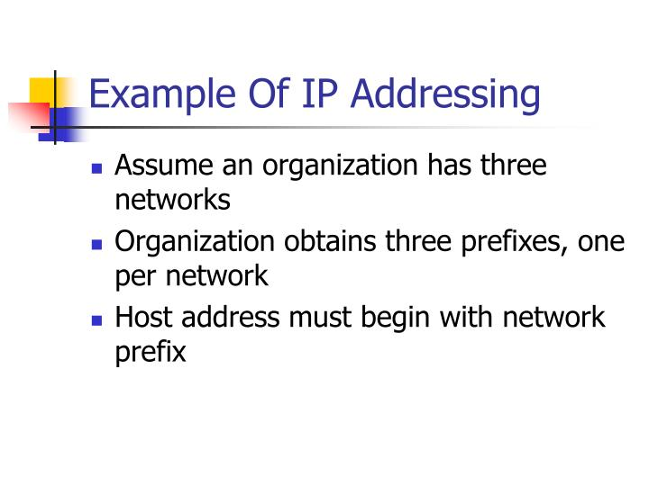Example Of IP Addressing