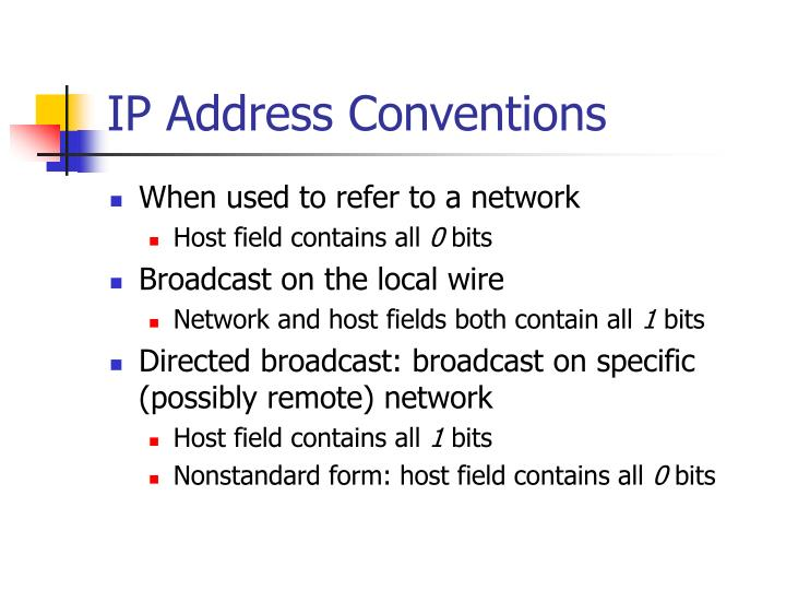 IP Address Conventions