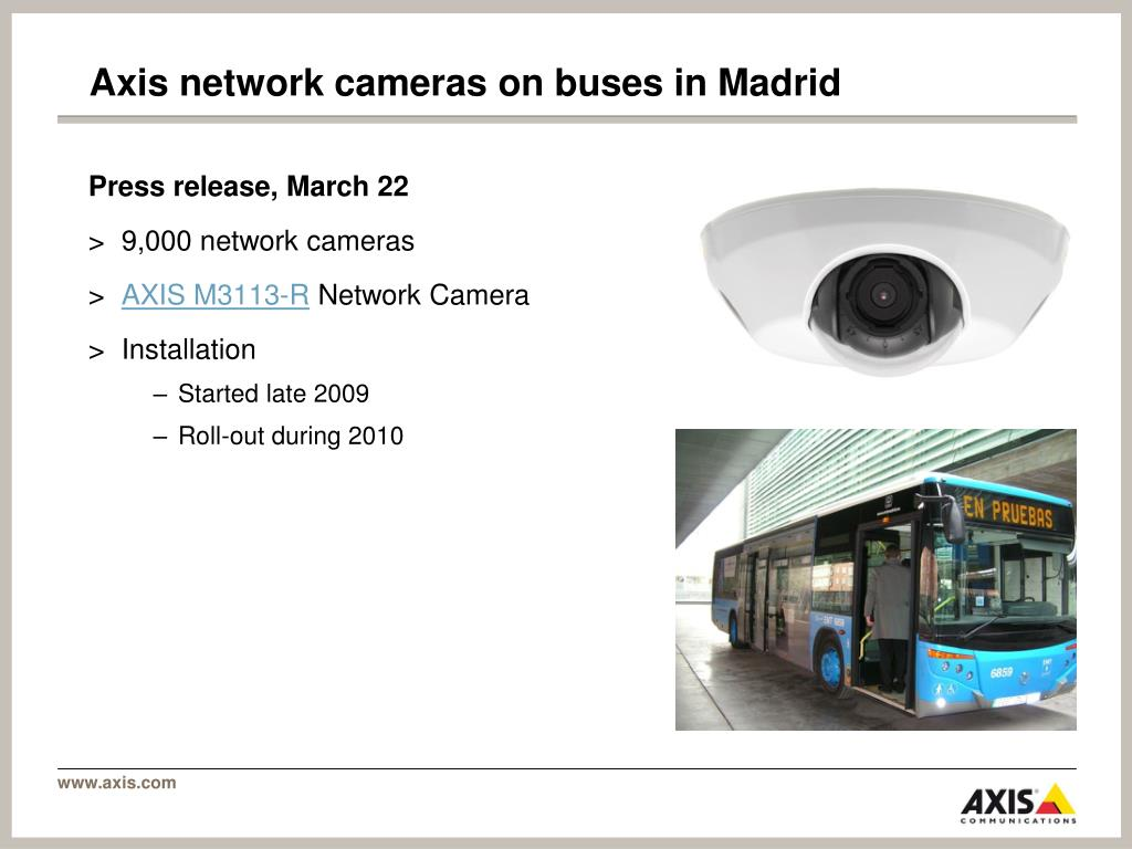 Axis network cameras on buses in Madrid