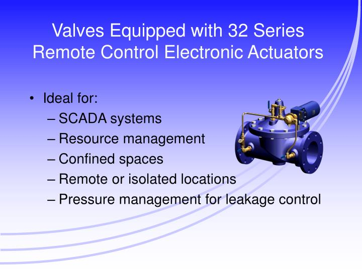 Valves equipped with 32 series remote control electronic actuators