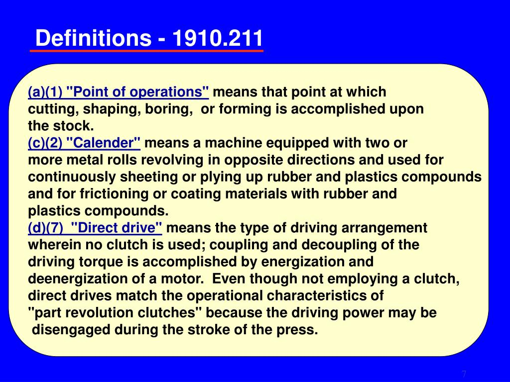 """(a)(1) """"Point of operations"""""""