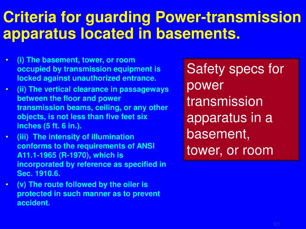 Criteria for guarding Power-transmission